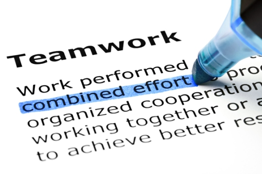 Teamwork with blue marker