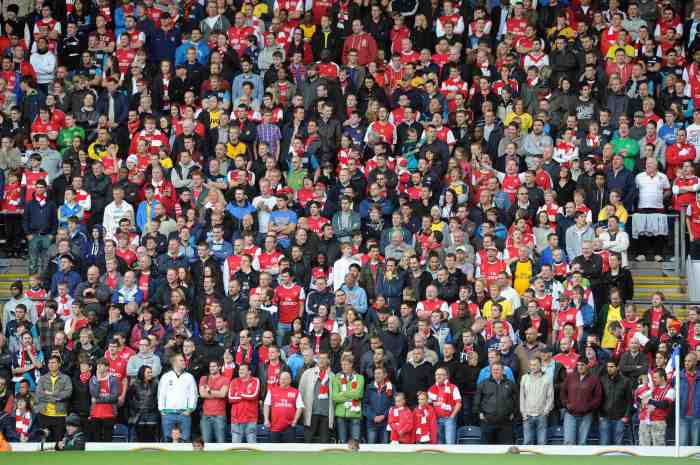 Arsenal away fans. Blackburn Rovers 4:3 Arsenal. Barclays Premier League